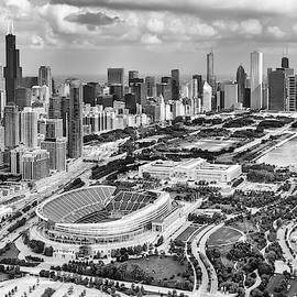 Adam Romanowicz - Soldier Field and Chicago Skyline Black and White