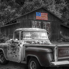 Southern Vintage Black and White with Color Selected Flag by Debra and Dave Vanderlaan