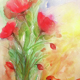 Sparrow And Poppies by Jasna Dragun