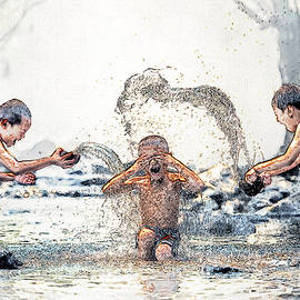 Splash - Children At Play - Sketch by Ericamaxine Price