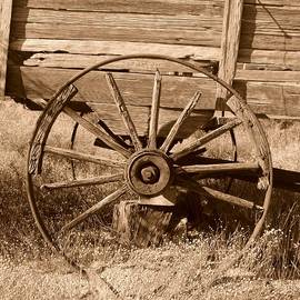 Spokes and Weathered Wood by Bill Tomsa