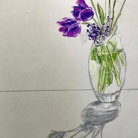 Spring Flowers in a Vase by Lavender Liu