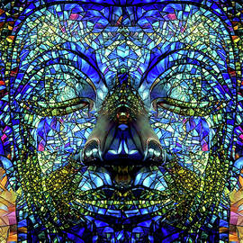 Stained Glass Colorful Buddha Art by Peggy Collins
