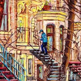 Staircase Street Scene Montreal Winding Staircases C Spandau The Mailman Plateau To Verdun Steps Art by Carole Spandau