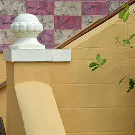 Stairs, Mop And Pink Tiled Wall At Albin Polasek Museum Gardens by Bruce Gourley