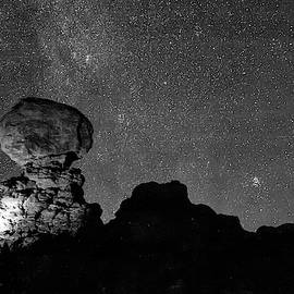 Starry Night In Arches National Park - Moab Utah Monochrome by Gregory Ballos