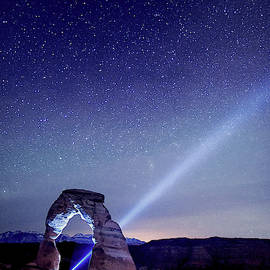Starry Night Pointer at Delicate Arch Utah by OLena Art - Lena Owens