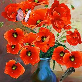 Still Life Poppies In Vase by Shabby Chic and Vintage Art