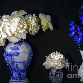 Still Life With Peonies In The Chinese Vase. by Alexander Vinogradov