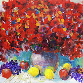 Still Life With Red Flowers by Maxim Komissarchik