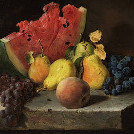 Lilly Martin Spencer - Still Life with Watermelon, Pears, Grapes