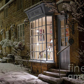 Stow On The Wold Winter Street At Night by Tim Gainey