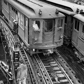 Subway Workers Signaling Train By Hand by New York Daily News Archive