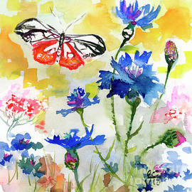 Summer Butterfly In Cornflowers by Ginette Callaway