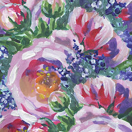 Summer Pattern Flowers Bouquet Floral Impressionism  by Irina Sztukowski