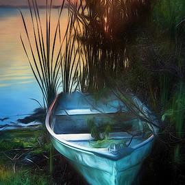 Summer Rowboat Watercolor Painting by Debra and Dave Vanderlaan