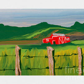 Summer's farm with the red barn. by Julie Grimshaw