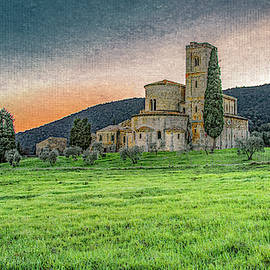 Abbey of Sant' Antimo Sunset, Textured by Marcy Wielfaert