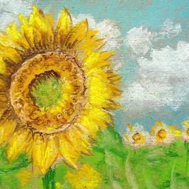 Sunflower on the background of a sunflower field. Pastel drawing. by Elena Sysoeva