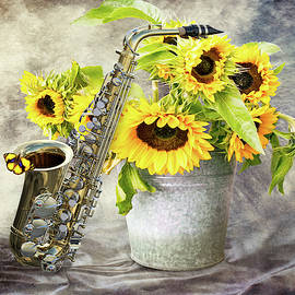 Sunflowers and saxophone by Mihaela Pater