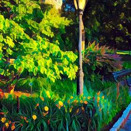 Sunlight on Lamp Post - Central Park in Summer by Miriam Danar