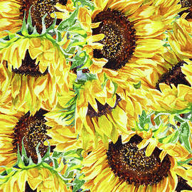 Sunny Day Watercolor Sunflowers Pattern by Irina Sztukowski