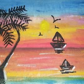 Sunrise landscape painting