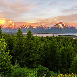 Sunrise On The Grand Tetons Over Jackson Lake - Wyoming by Brian Harig