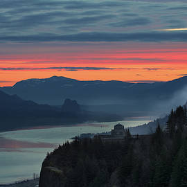 Sunrise Over Mountains And River by David Gn