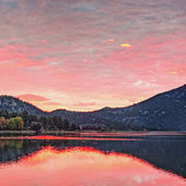 Sunrise Panorama Of Mount Olympus And Lake Estes Park - Rocky Mountain National Park - Colorado by Silvio Ligutti