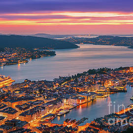 Sunset at Bergen, Norway. by Henk Meijer Photography