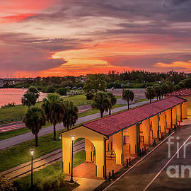 Sunset at the Train Depot in Venice, Florida 2 by Liesl Walsh