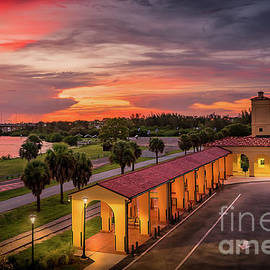Sunset at the Train Depot in Venice, Florida 3 by Liesl Walsh