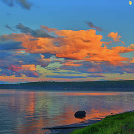 Sunset At Yellowstone Lake by Greg Norrell