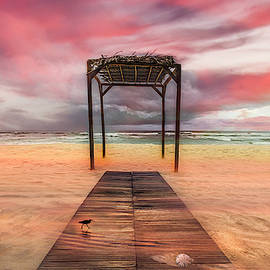Sunset Colors at the Beach  by Debra and Dave Vanderlaan