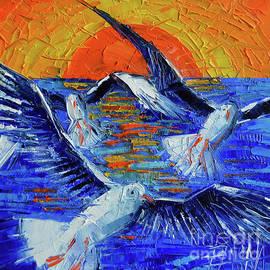 SUNSET FLY palette knife impasto abstract oil painting Mona Edulesco by Mona Edulesco