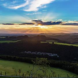 Sunset In Saxon Switzerland, Lilienstein by Andreas Levi