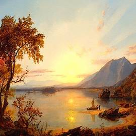 Sunset - Lake George - New  York After The Original Painting By Jasper Francis Cropsey L A S by Gert J Rheeders