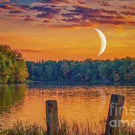 Sunset Moon Over Lake Newport by Janice Pariza