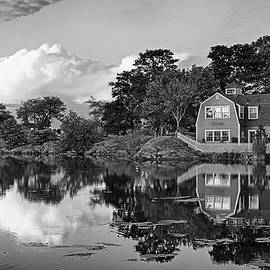 Sunset On Redds Pond Marblehead Ma Red Clouds Black And White by Toby McGuire