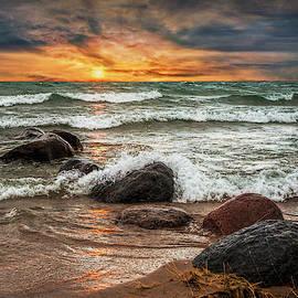 Sunset on Sturgeon Bay in Lake Michigan by Randall Nyhof