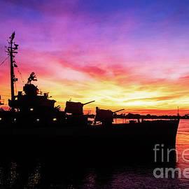 Sunset on the USS Kidd - Baton Rouge, Louisiana by Scott Pellegrin
