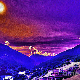Sunset Over The Austrian Alps by Bumsable