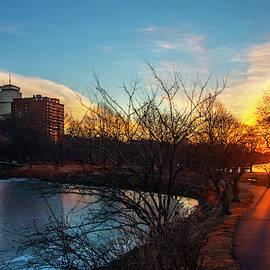 Sunset Over The Charles River Esplanade by Joann Vitali