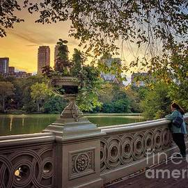 Sunset Reflections - Early Fall in the Park - Central Park New York by Miriam Danar