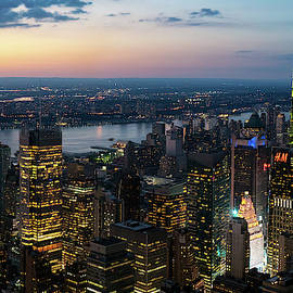 Sunset Skyline New York City by Sharon Popek