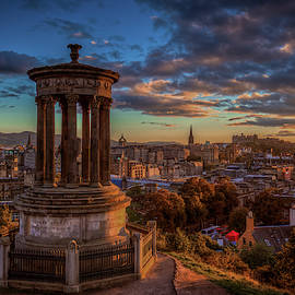 Sunset, Stewart Monument, Edinburgh Scotland by Mike Deutsch