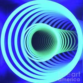 Op Art Spirals In Blue, Vision # 1 by Poet's Eye