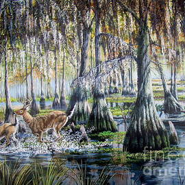 Swamp Runners- Deer and Hounds by Daniel Butler