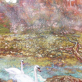 Bonnie Marie - - Swans in a Mist in Spring